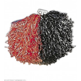 Bicolour Pom Pom - Red/Black Fancy Dress