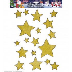 Set 18 Gold Glitter Stars Window Stickers - Fancy Dress (Christmas)