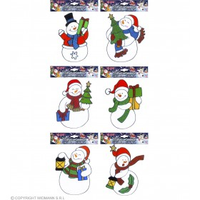 Snowman Xmas Window Stickers 6 Styles A, Fancy Dress (Christmas)
