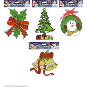 Xmas Decor Window Stickers 4 Styles Ass, Fancy Dress (Christmas)