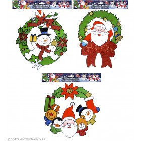 Xmas Wreath Window Stickers 3 Styles As, Fancy Dress (Christmas)