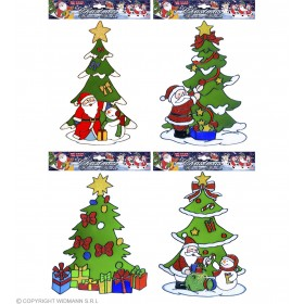 Xmas Tree Window Stickers 4 Styles Ass., Fancy Dress (Christmas)