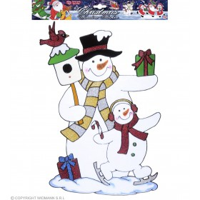 Snowman Couple Window Stickers 40Cm - Fancy Dress (Christmas)