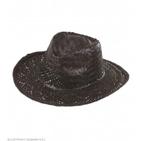 Boys Cowboy Hat Straw - Black Hats - (Black)