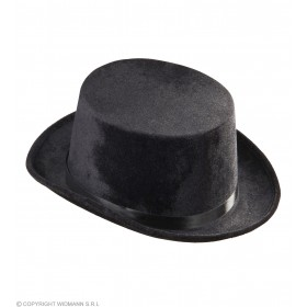 Mens Top Hat Velvet - Black Hats - (Black)