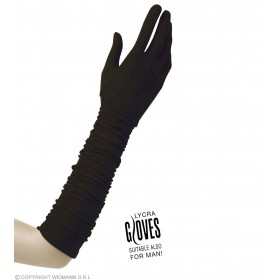 Plisse Lycra Gloves - Black - Fancy Dress