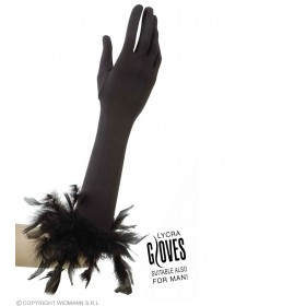 Black Gloves W/Blk Feathers - Fancy Dress