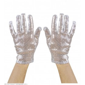 Silver Sequin Gloves - Fancy Dress
