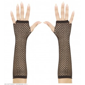 Fingerless Fishnet Gloves Black - Fancy Dress