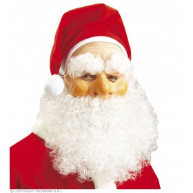 Santa Claus Mask W/Hat Beard Tash Eyebrows, Fancy Dress (Christmas)
