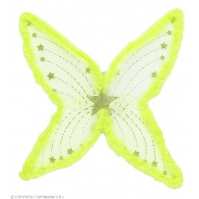 Ladies Maxi Green Glitter Wings With Marabou 74X80Cm - (Green)