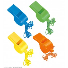 Neon Whistles Set Of 4 - 4 Cols - Fancy Dress