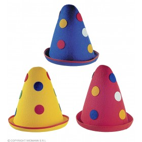 Dotted Cone Hat Felt 3 Cols - Fancy Dress