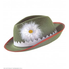 Tyrolese Hat Green With Daisy - Fancy Dress