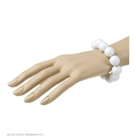 70S Beaded Bracelet - White - Fancy Dress (1970S)
