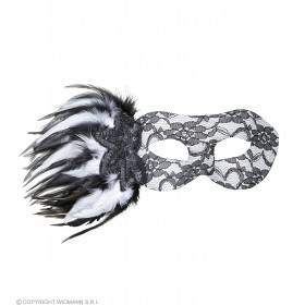 Ladies Lace Eyemask W/Sequin Rose & Feathers Eyemasks - (Black, White)