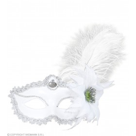Ladies White Eyemask W/Rose & Feathers Eyemasks - (White)
