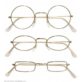 Metal Glasses Gold W/Lenses 3Styles - Fancy Dress (Christmas)