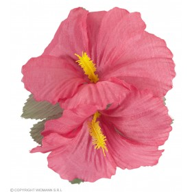 Ladies 2 Pink Hibiscus Flowers Hair Clips Accessories - (Pink)
