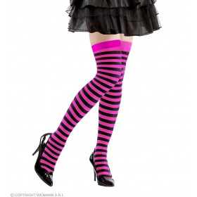 Ladies Pink-Black Striped Over The Knee Socks - 70 Den Tights - Size 10-12