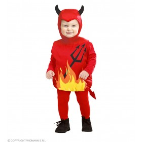 Girls Devil (104Cm) (Jumpsuit Headpiece) Halloween Outfit - Age 2-3 (Red)