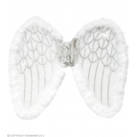 White Glitter Wings W/Marabou 50X40Cm - Fancy Dress (Christmas)