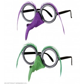 Adult Unisex Glasses With Witch Nose Feather Brow