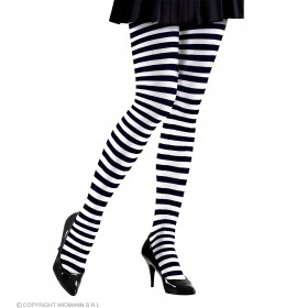 Xl Pantyhose Blk - Wht Stripe Sz 70 Den - Fancy Dress