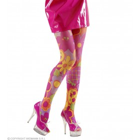 Xl Pantyhose Pink Flower 40Den - Fancy Dress