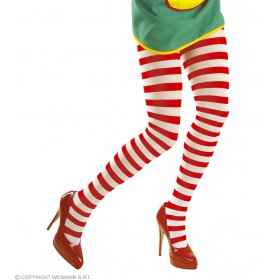 Xl Pantyhose Striped Wht - Red 70Den - Fancy Dress