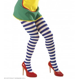 Xl Pantyhose Striped Wht - Blue 70Den - Fancy Dress