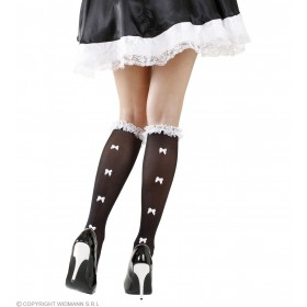 Ladies Black French Maid Style Socks With Ruffle Lace Trim & White Bows