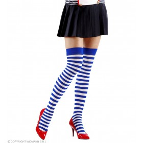Xl Striped Over Knee Socks 70 White, Blue, Fancy Dress