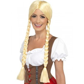 Ladies Oktoberfest Bavarian Barmaid Beauty Wig, Blond ,Plaited.