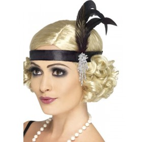 Black Satin Charleston Headband - Fancy Dress Ladies (1920S)