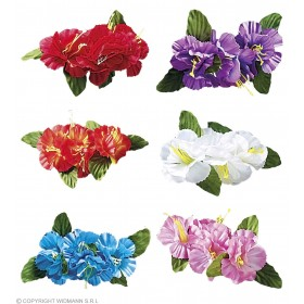 Single Hibiscus 4 Flower Hair Clip Choice Of 6 Colours  - Fancy Dress hawaiian