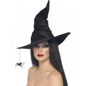 Witch Hat Black Velour With Spider - Fancy Dress Ladies (Halloween)