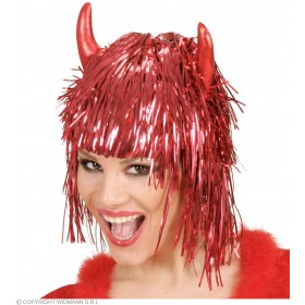 Tinsel Devil Wig W/Horns In Polybag - Fancy Dress (Halloween)