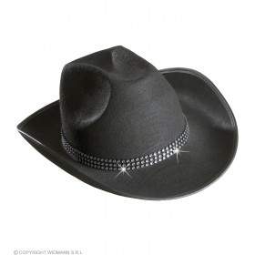 Cowboy Hat Felt W/Strass Band - Black - Fancy Dress (Cowboys/Native Americans)
