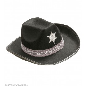 Sheriff Hat Adult Felt - Black - Fancy Dress