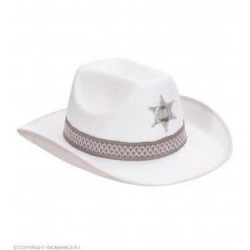 Sheriff Hat Adult Felt - White - Fancy Dress