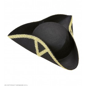 Tricorn Hat Felt Decorated - Fancy Dress