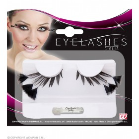 Eyelashes Black W/3 Feathers On The Sides - Fancy Dress