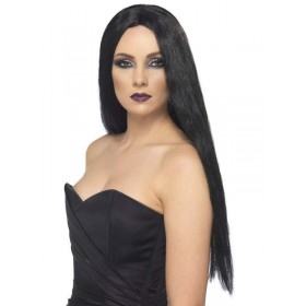 Witch Wig Black - Fancy Dress Ladies (Halloween)