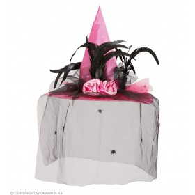 Witch Hat Pink Satin W/Spider Veil & Feat - Fancy Dress (Halloween)