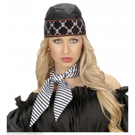 Satin Striped Neck Sashes White Blk Stripes Fancy Dress