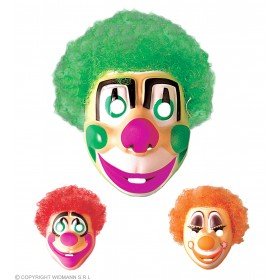 Clown Mask W/Hair Child Plastic - Fancy Dress (Clowns)