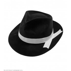 Gangster Hat Flocked Black - Fancy Dress