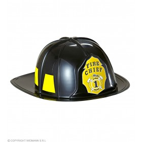Adult Unisex Black Fireman Hat Hard Plastic Hats - (Black)