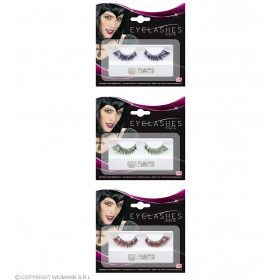 Ladies Eyelashes With Stardust - 3 Cols Ass Eyelashes - (Green, Purple, Red)